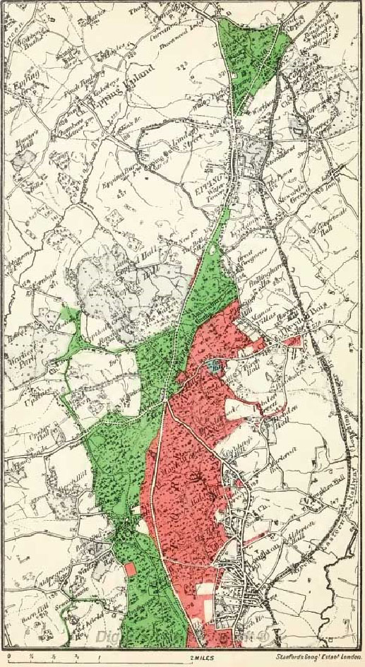 The extent of the forest enclosures can be seen on this map, the red areas being enclosed and returned to the Forest by Sir George Jessel's judgment in 1874